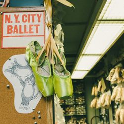 These green pointe shoes, while striking, are (unfortunately) not worn in <em>The Nutcracker</em>.