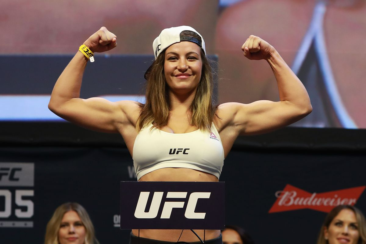 Miesha Tate after ceremonial weigh-ins at UFC 205.