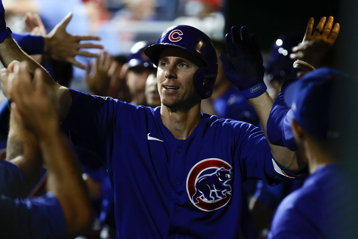 The Cubs' Matt Duffy celebrates after hitting a two-run homer during the third inning against the Phillies.