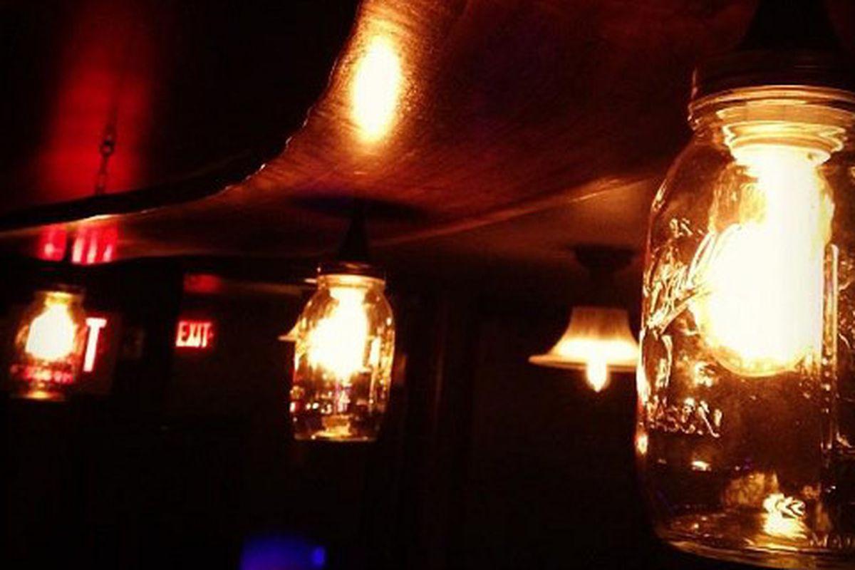 Moody, DIY Mason-jar lighting at Bourbon and Branch.