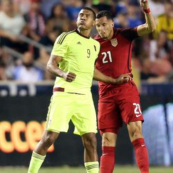 Venezuela forward Jose Salomon Rondon (9) and  Matt Hedges (21) of the United States reach for a header during a soccer game at Rio Tinto Stadium in Sandy on Saturday, June 3, 2017. They tied 1-1.