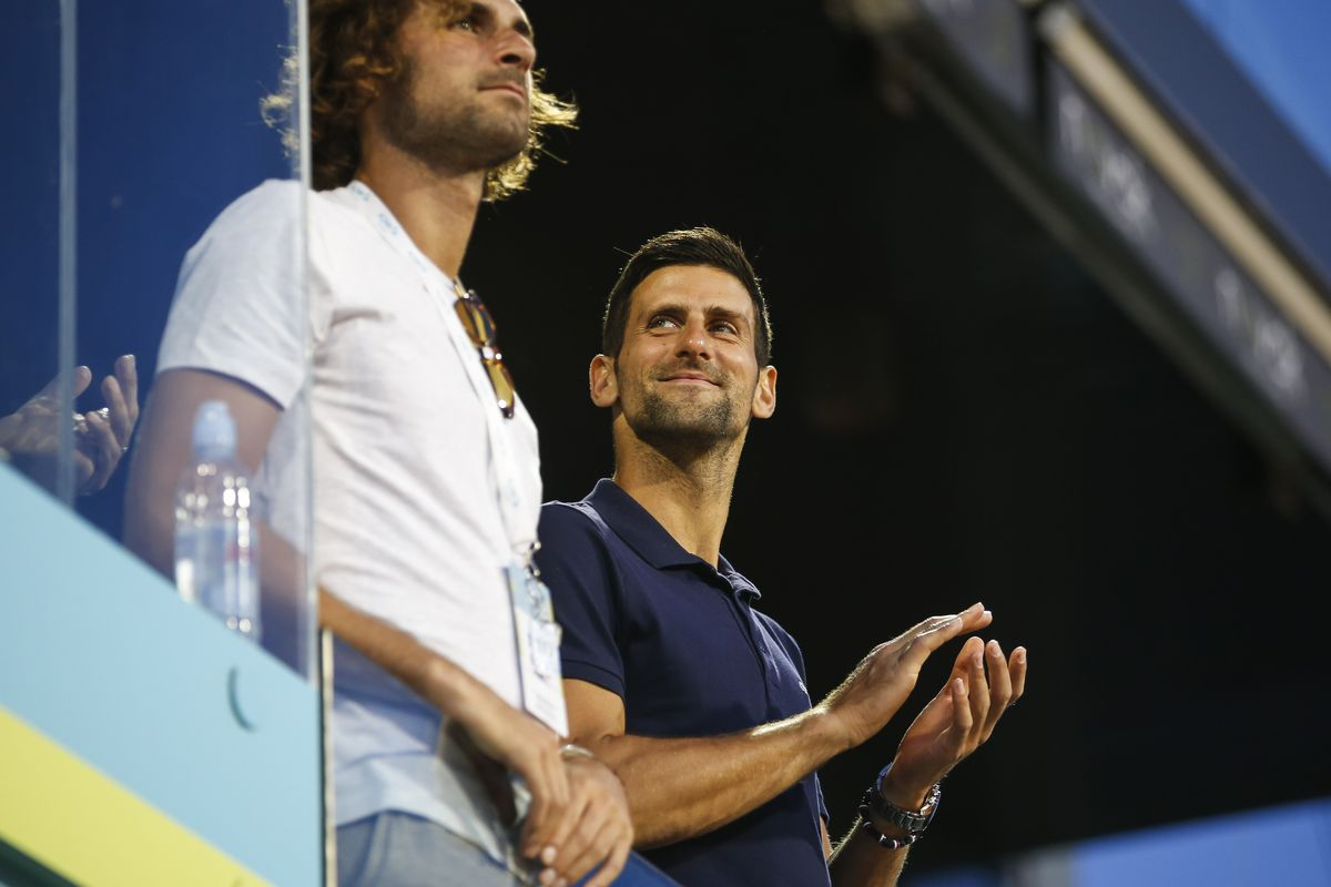 Novak Djokovic of Serbia and his brother Marko Djokovic attend the Adria Tour Final match between Dominic Thiem of Austria and Filip Krajinovic of Serbia charity exhibition hosted by Novak Djokovic on June 14, 2020 in Belgrade, Serbia.