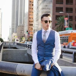 """Blake of <a href=""""http://www.anythingandeverythingla.com""""target=""""_blank"""">Anything & Everything LA</a> is wearing an Indochino suit, a <a href=""""http://shop.nordstrom.com/s/shinola-the-runwell-mesh-band-watch-41mm/3595474?origin=keywordsearch-personalizedso"""