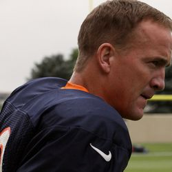 Peyton Manning comes out for the fourth day at training camp