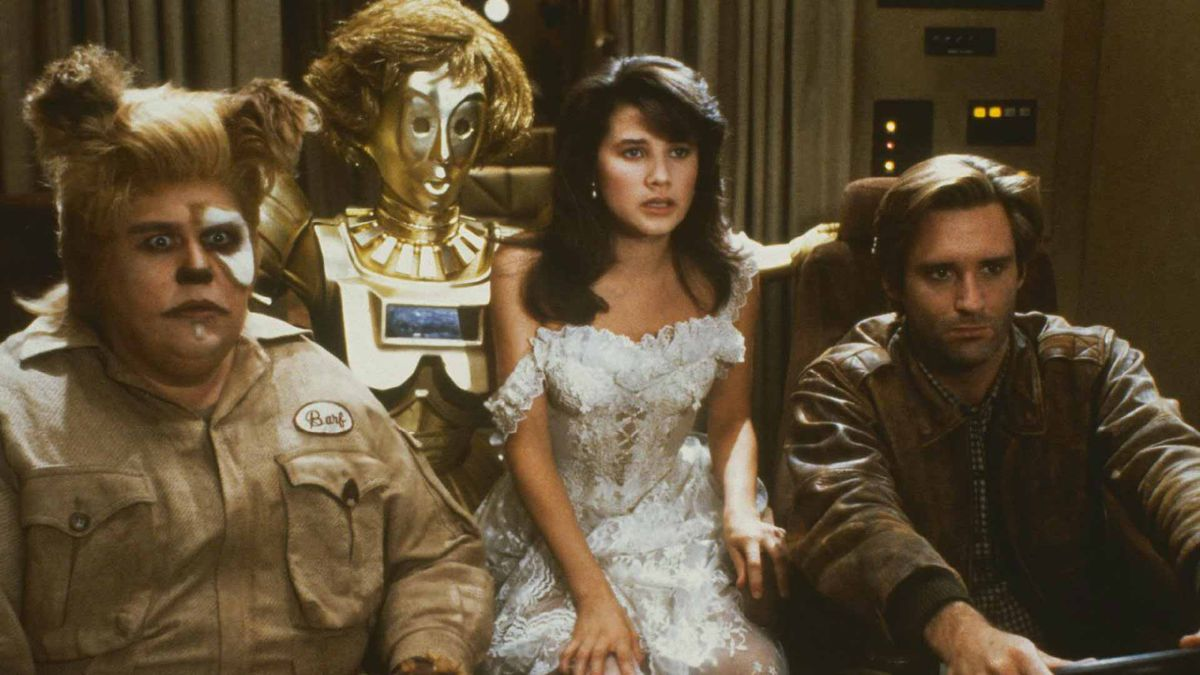 four figures inside a spaceship in Spaceballs