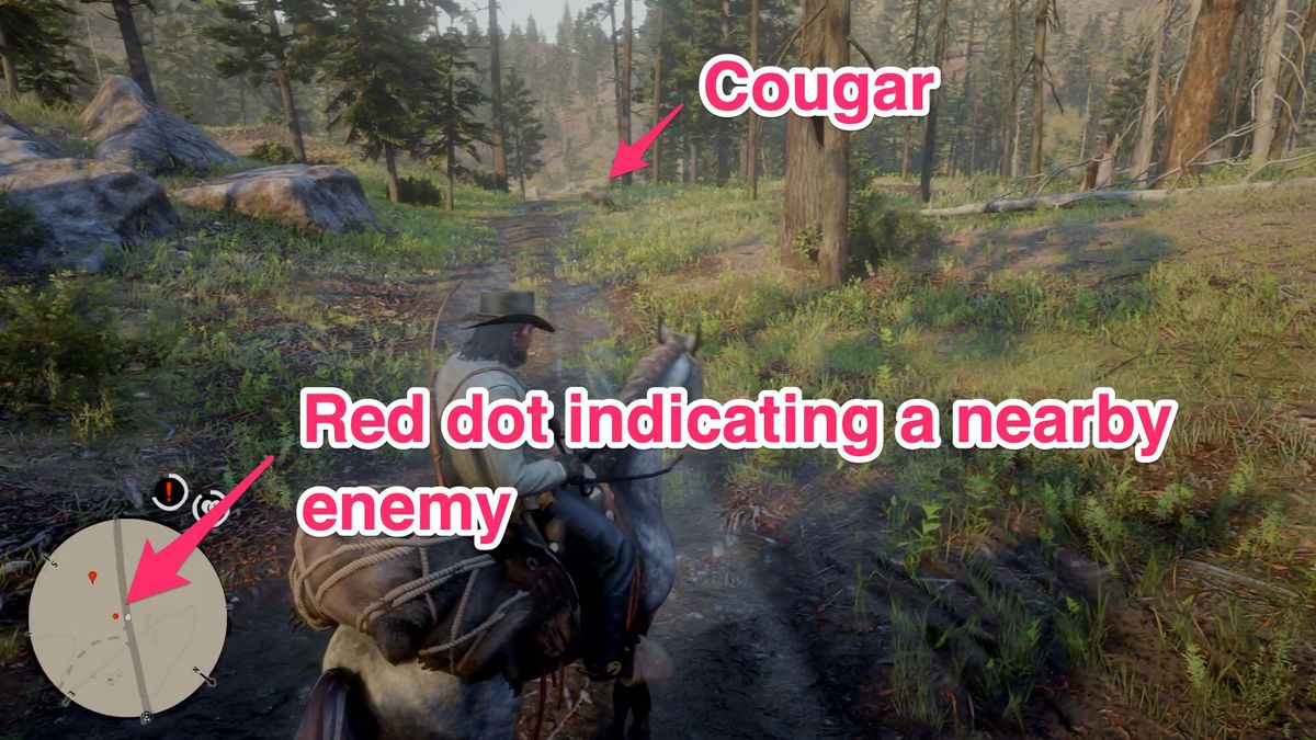 The red dot on your radar tells you that there's an enemy nearby (and it's time to get off of your horse).