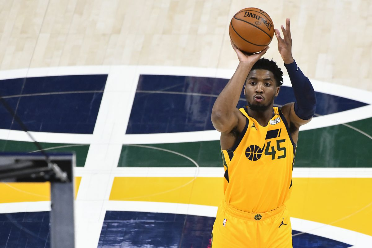 Donovan Mitchell #45 of the Utah Jazz takes a shot during a game against the Charlotte Hornets at Vivint Smart Home Arena on February 22, 2021 in Salt Lake City, Utah.