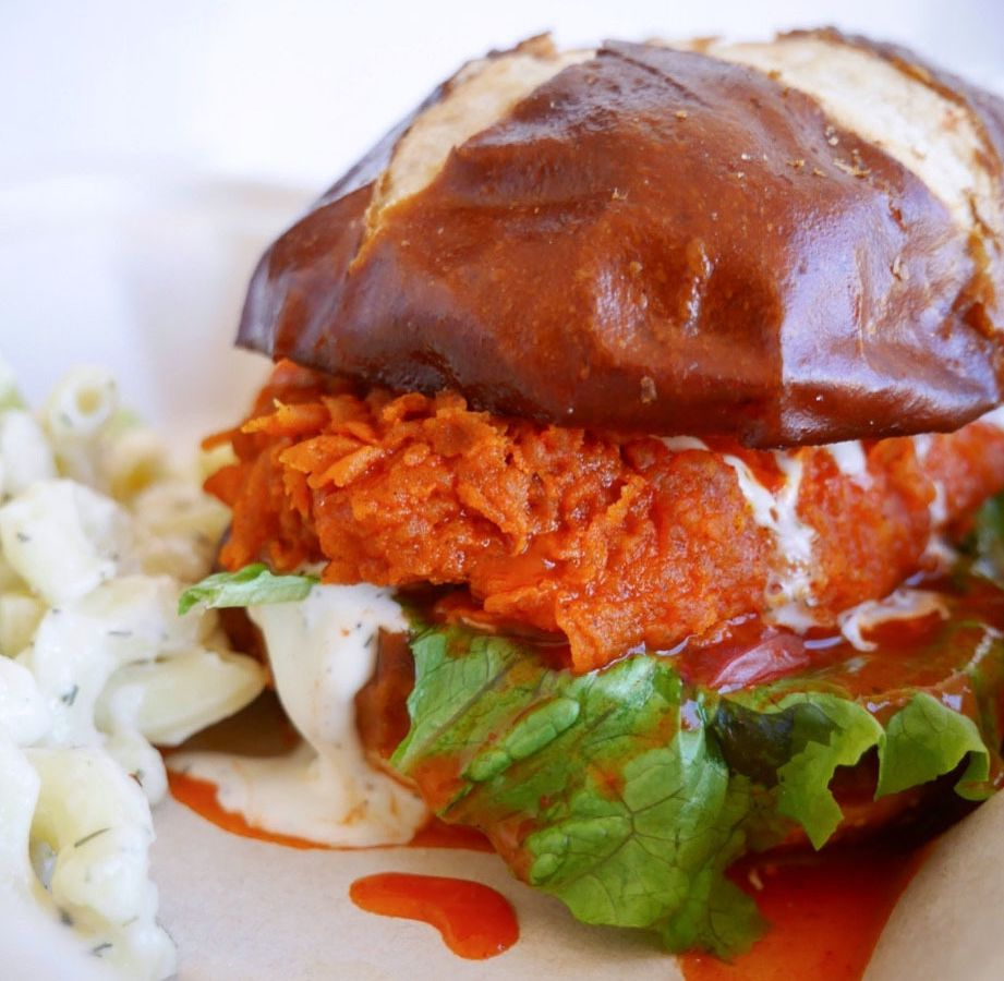 A picture of the vegan buffalo chicken sandwich at The Mockingbird
