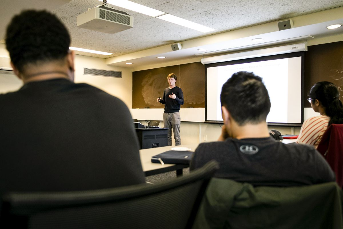 John Macke teaches the Introductory Section for Raj Chetty's Economics 115 class.