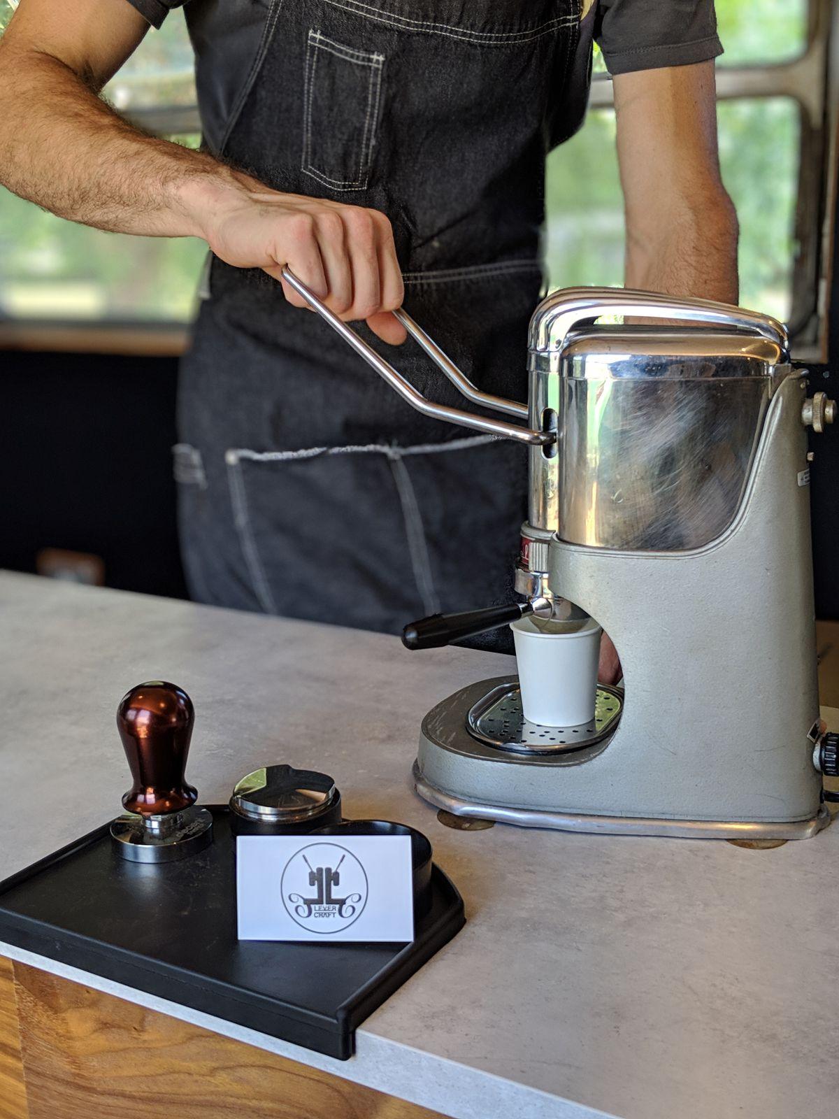 Making an espresso at LeverCraft