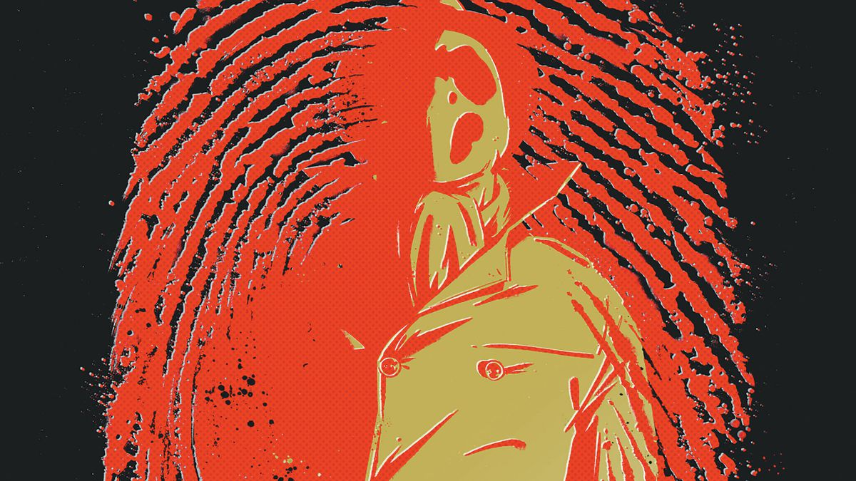 The cover of Rorschach #1 from DC Comics with Rorschach against a blood red fingerprint
