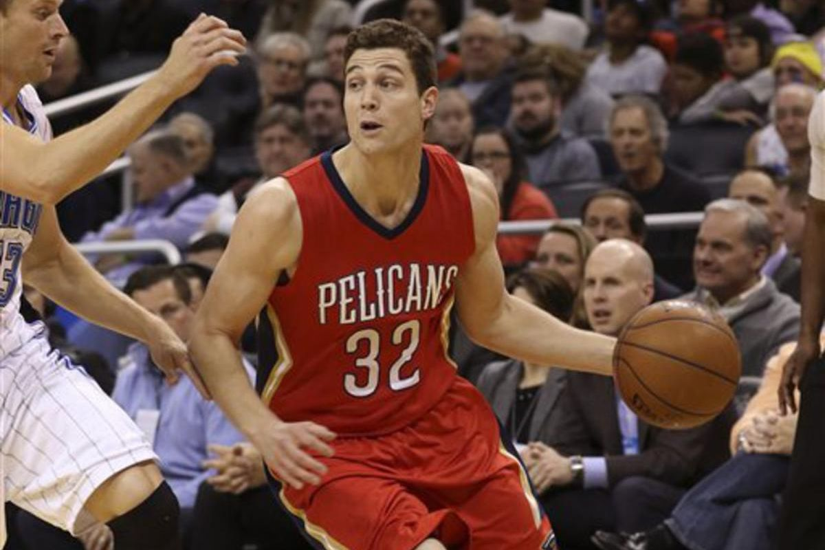 New Orleans Pelicans guard Jimmer Fredette (32) during the first half of an NBA basketball game against the Orlando Magic in Orlando, Fla., Friday, Feb. 20, 2015.