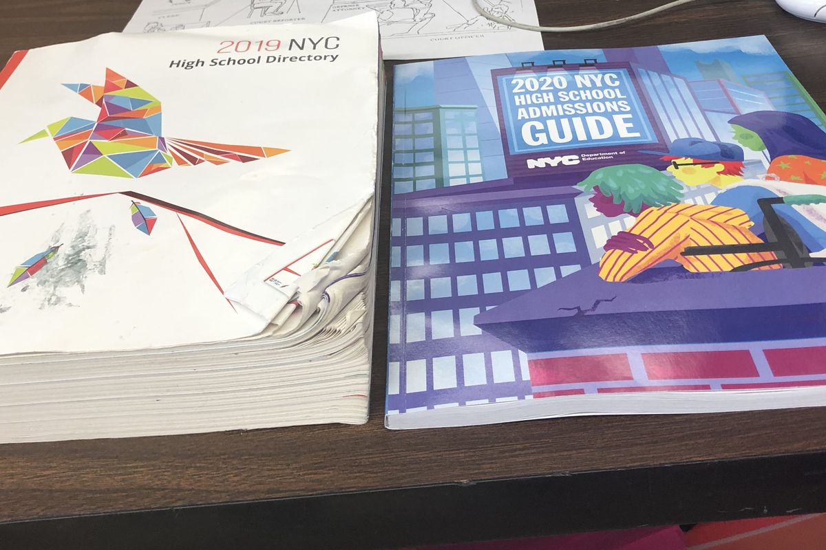 The 2019 and new 2020 high school directory for New York City schools, side by side.