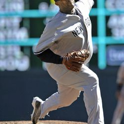 New York Yankees pitcher CC Sabathia throws against the Minnesota Twins during the second inning of a baseball game, Wednesday, Sept. 26, 2012 in Minneapolis.