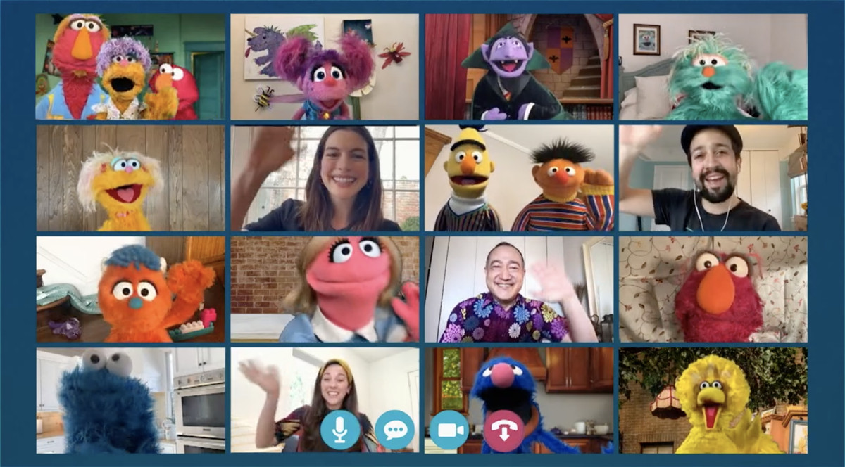 The whole Sesame Street crew shares a zoom call in Sesame Street: Elmo's Playdate.