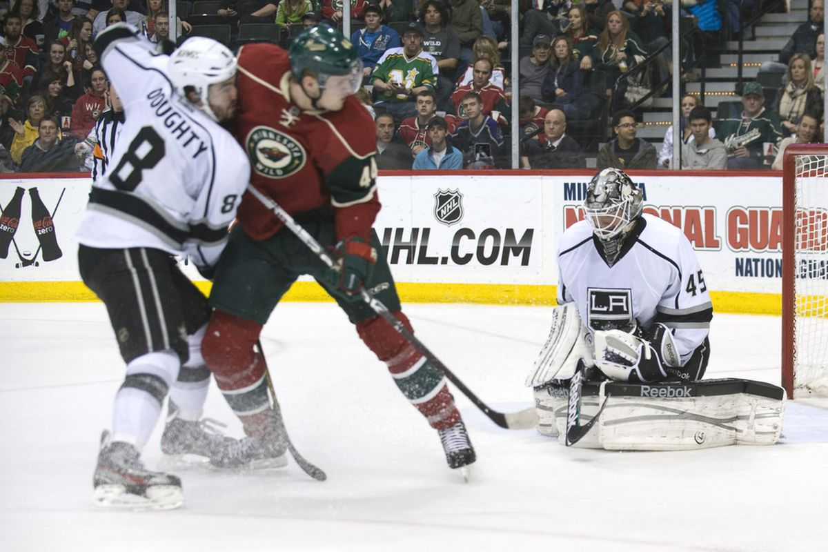 MAR 31, 2012; St. Paul, MN, USA;   Los Angeles Kings goalie Jonathan Bernier (45) makes a save in the second period against the Minnesota Wild at Xcel Energy Center.    Mandatory Credit: Marilyn Indahl-US PRESSWIRE