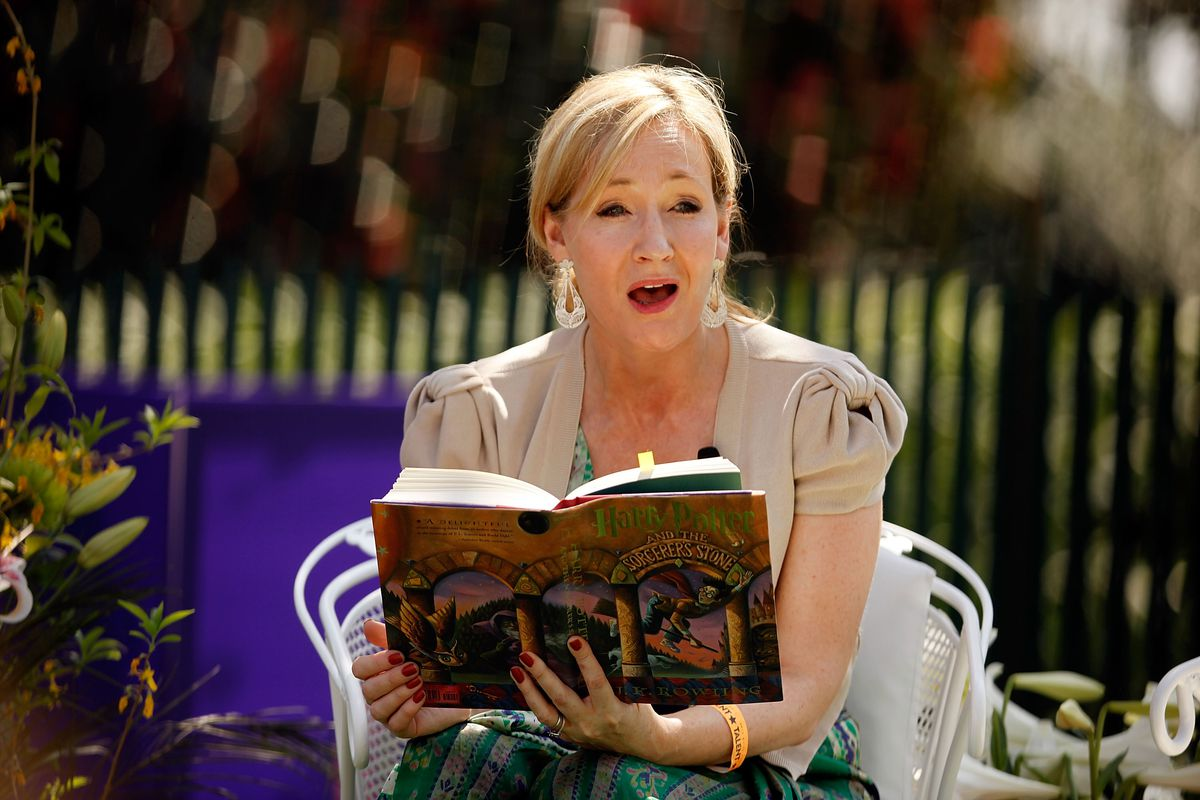 J.K. Rowling, creator of the Harry Potter fantasy series, reads 'Harry Potter and the Sorcerer's Stone' during the Easter Egg Roll on the South Lawn of the White House.