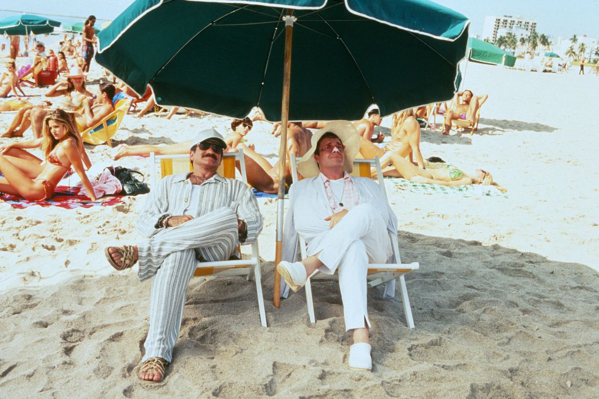 Robin Williams and Nathan Lane relaxing on the beach in The Birdcage.