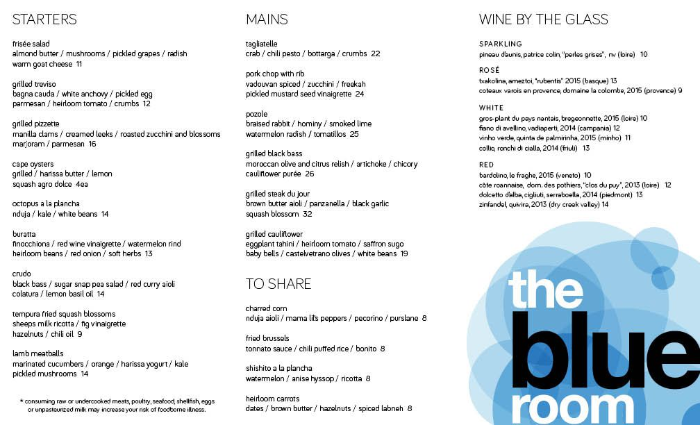 The Blue Room menu