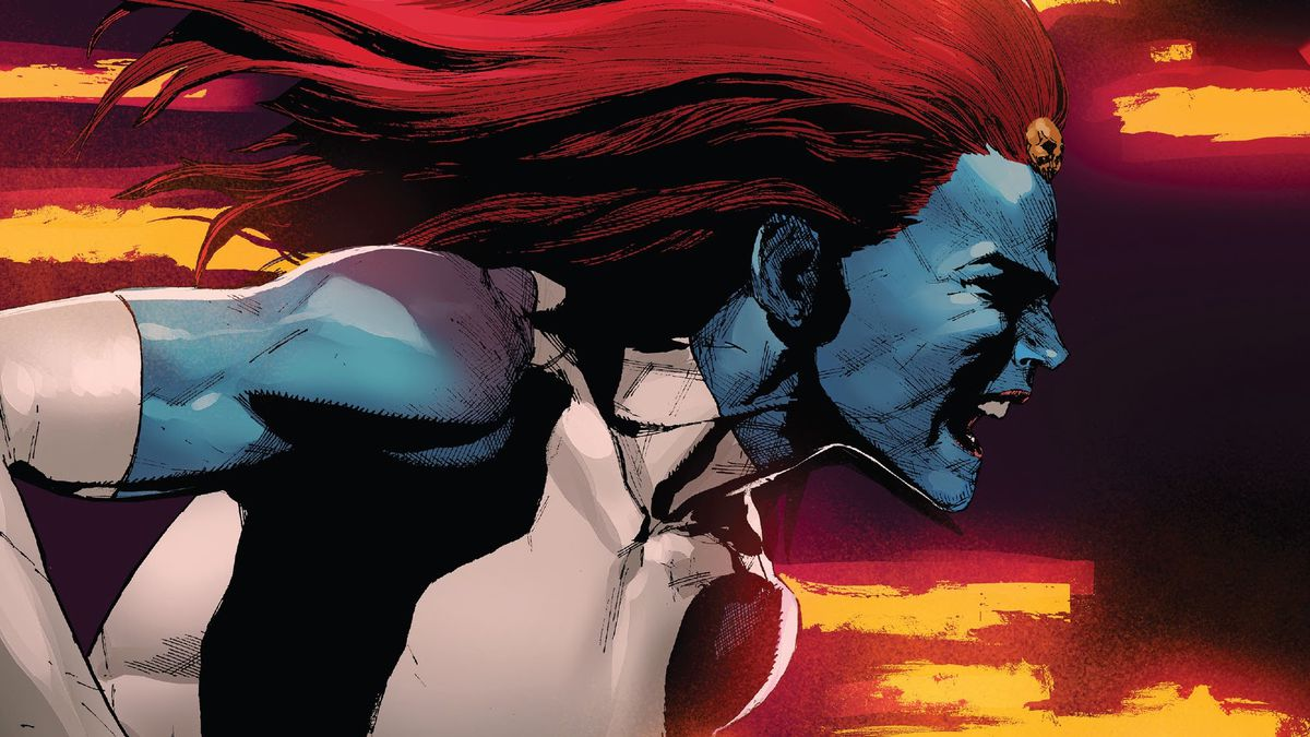 Mystique runs from left to right, mouth open in a scream, streaks of live fire in the background, on the cover of X-Men #6, Marvel Comics (2020).