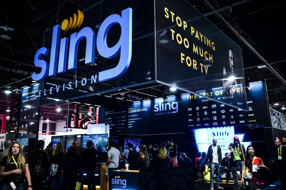 The Sling TV display booth at the 2017 Consumer Electronics Show (CES) in Las Vegas, Nevada, on January 7, 2017.