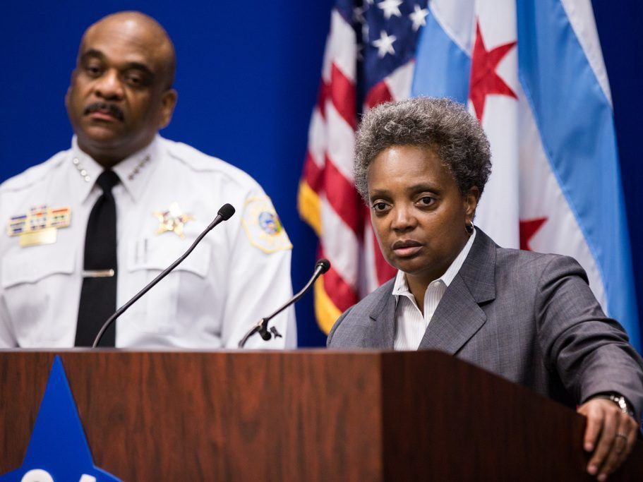 Lori Lightfoot, then the Chicago Police Board president, at announcement of the Chicago Police Department's newly revised use-of-force policy on May 17, 2017. | Santiago Covarrubias / Sun-Times