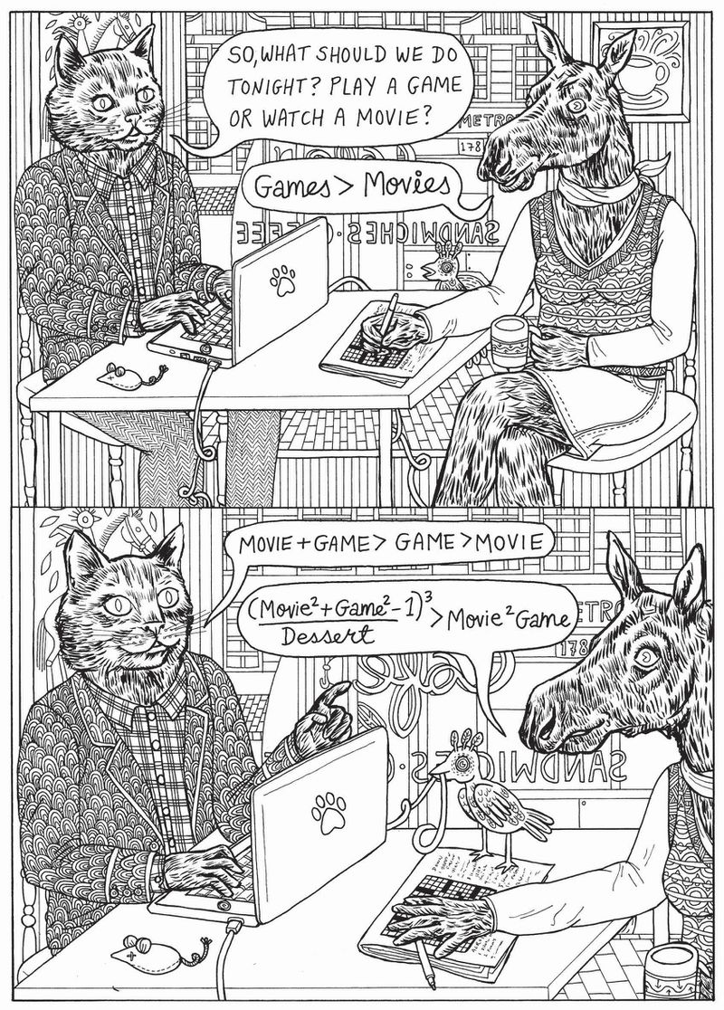 A black and white drawing from I Want You with a cat in a sport coat and button down shirt working on a laptop, and sitting at a table with a horse in a sweater vest and mini skirt who is drinking coffee.