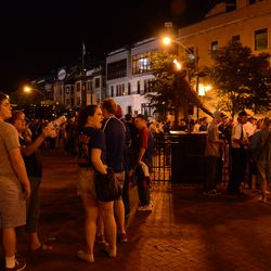 10:39 p.m. The end of the line for the remote parking lot buses, wrapping around the Ron Santo statue -