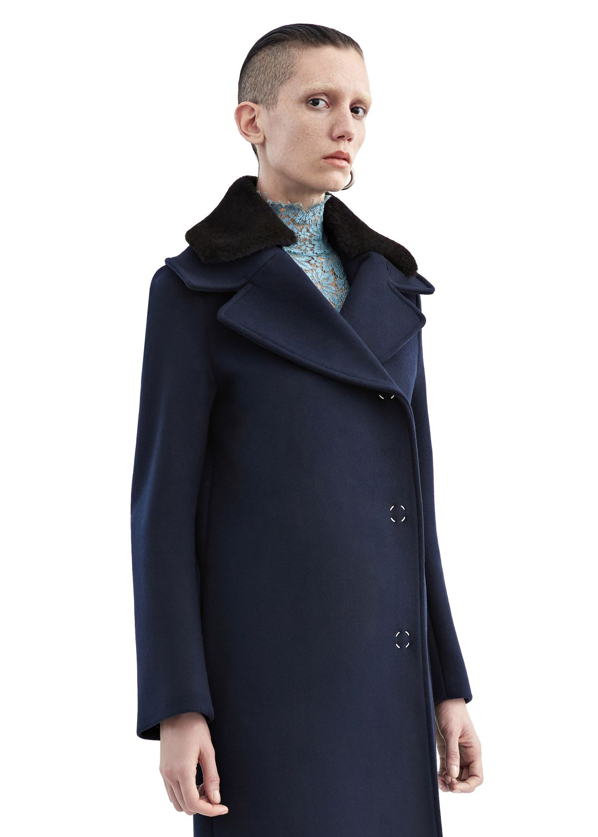 A wool coat with a fur collar