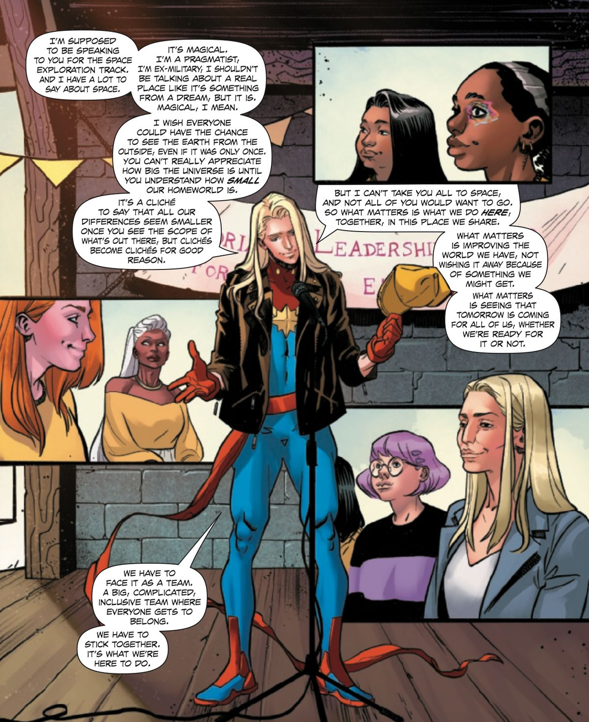 Carol Danvers gives a speech about how space is great, like, super great, but it's imperative that don't think it's SO cool that we forget to solve problems on Earth, in Fearless #4, Marvel Comics (2019).