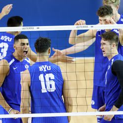 BYU players celebrate as they and Pepperdine play in the finals of the Mountain Pacific Sports Federation Championship, at the Smith Field House in Provo on Saturday, April 24, 2021. BYU won in straight sets.