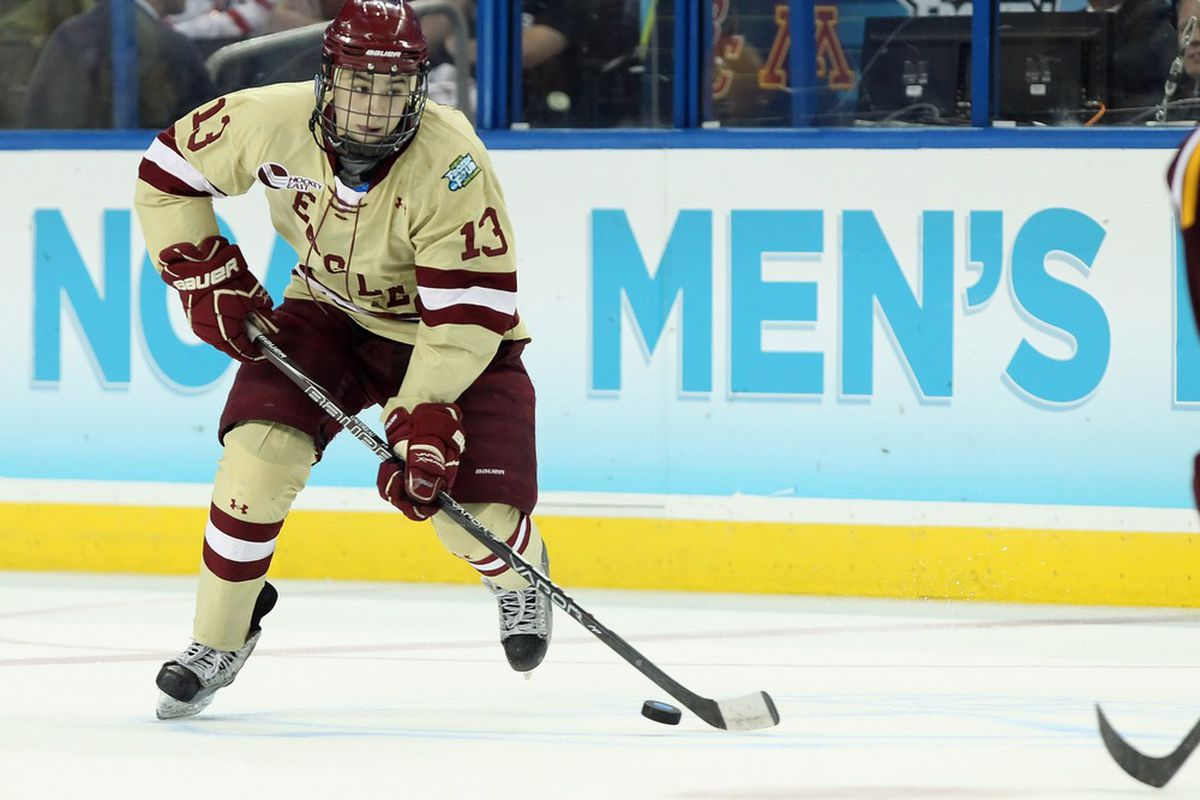 His team has been eliminated, but BC sophomore Johnny Gaudreau will be in Pittsburgh for the Hobey Baker Memorial Award presentation