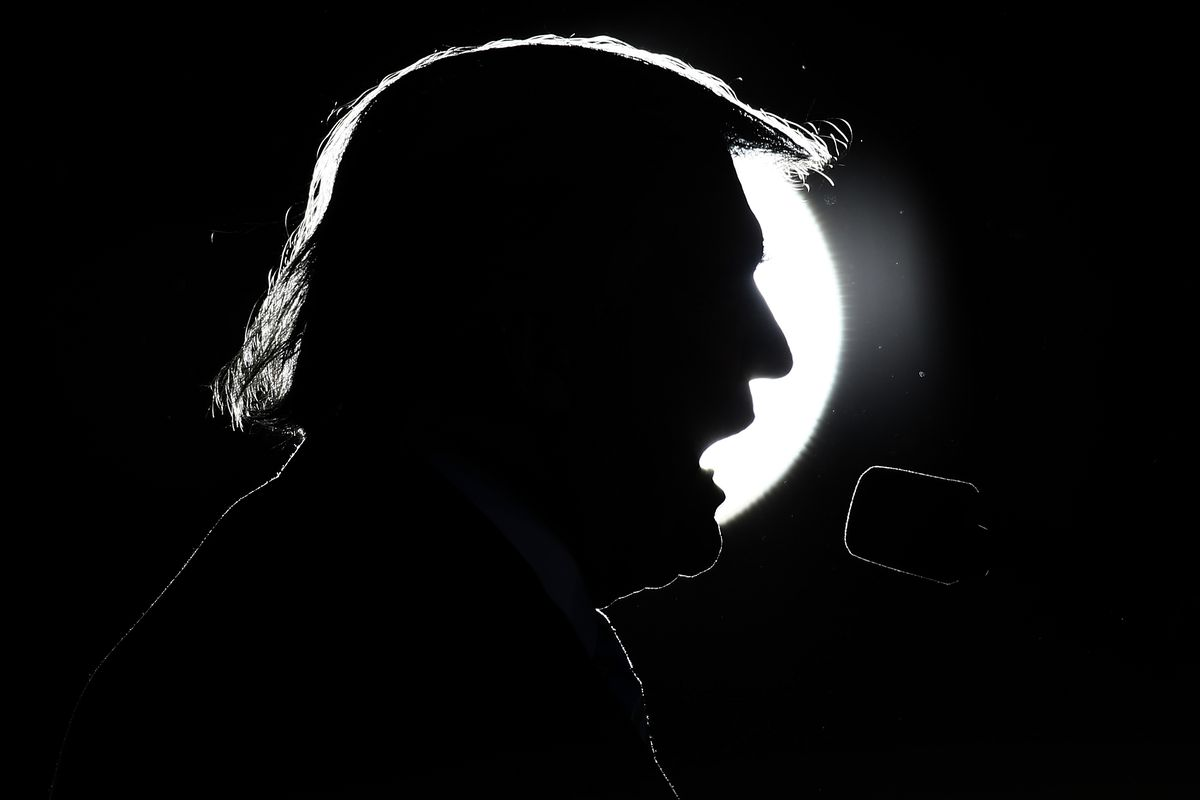 President Donald Trump speaks at a public event.