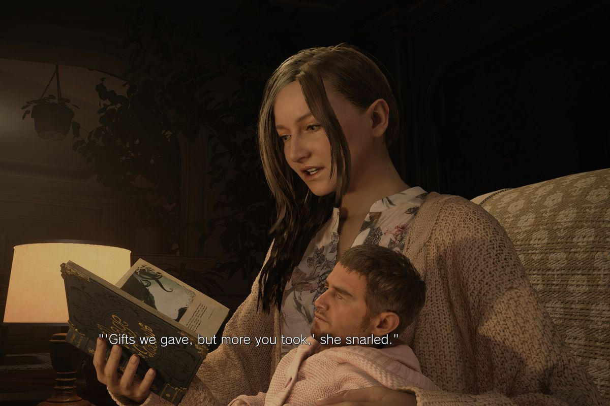Chris Redfield as a baby being held by Mia Winters in Resident Evil Village