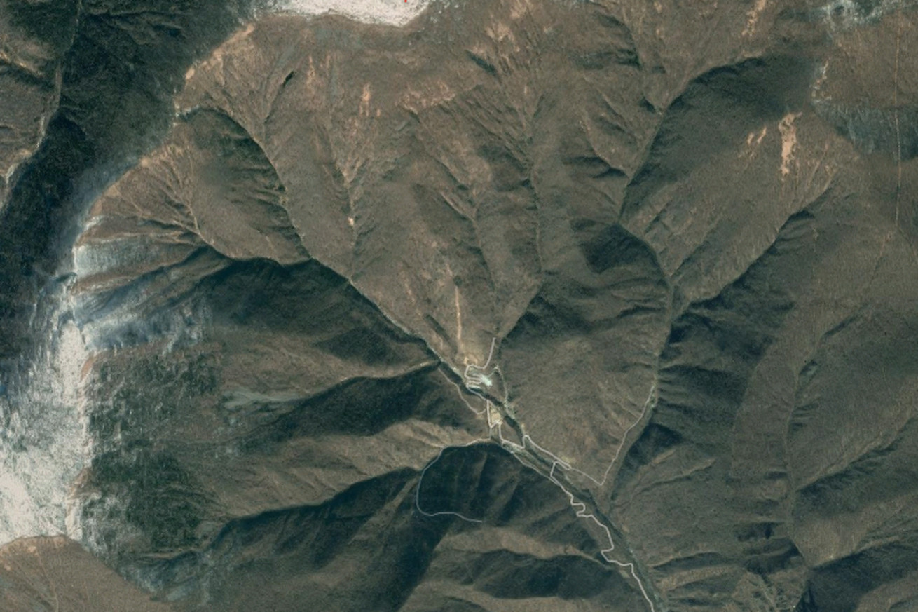 Screenshot of Mount Mantap, the location of North Korea's nuclear test site.