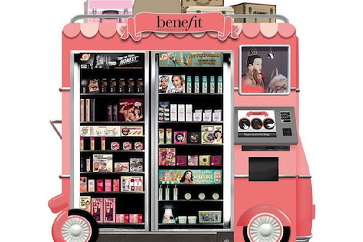 """Rendering via <a href=""""http://www.wwd.com/beauty-industry-news/retailing/benefit-to-launch-airport-beauty-kiosks-7096634/slideshow/7096667#/slideshow/article/7096634/7096667"""">WWD</a>"""