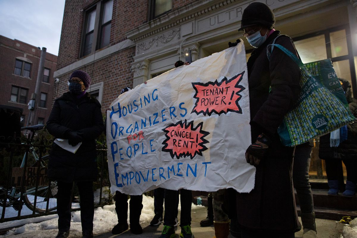 Crown Heights residents protest agains their landlords attempts to evict a tenant, Feb. 17, 2021.