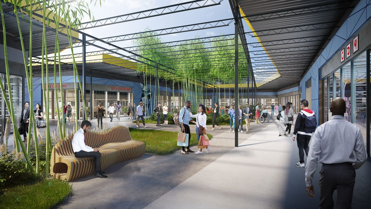 A rendering shows the open-air public space, with retail outlets on the outskirts and seating and greenery in the middle.