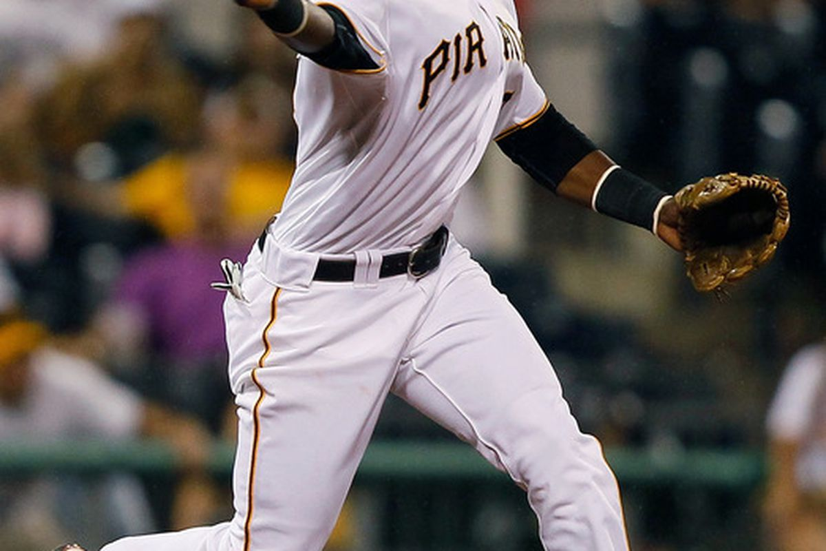 PITTSBURGH - JUNE 20:  Pedro Ciriaco #3 of the Pittsburgh Pirates throws to second base against the Baltimore Orioles during the game on June 20, 2011 at PNC Park in Pittsburgh, Pennsylvania.  (Photo by Jared Wickerham/Getty Images)