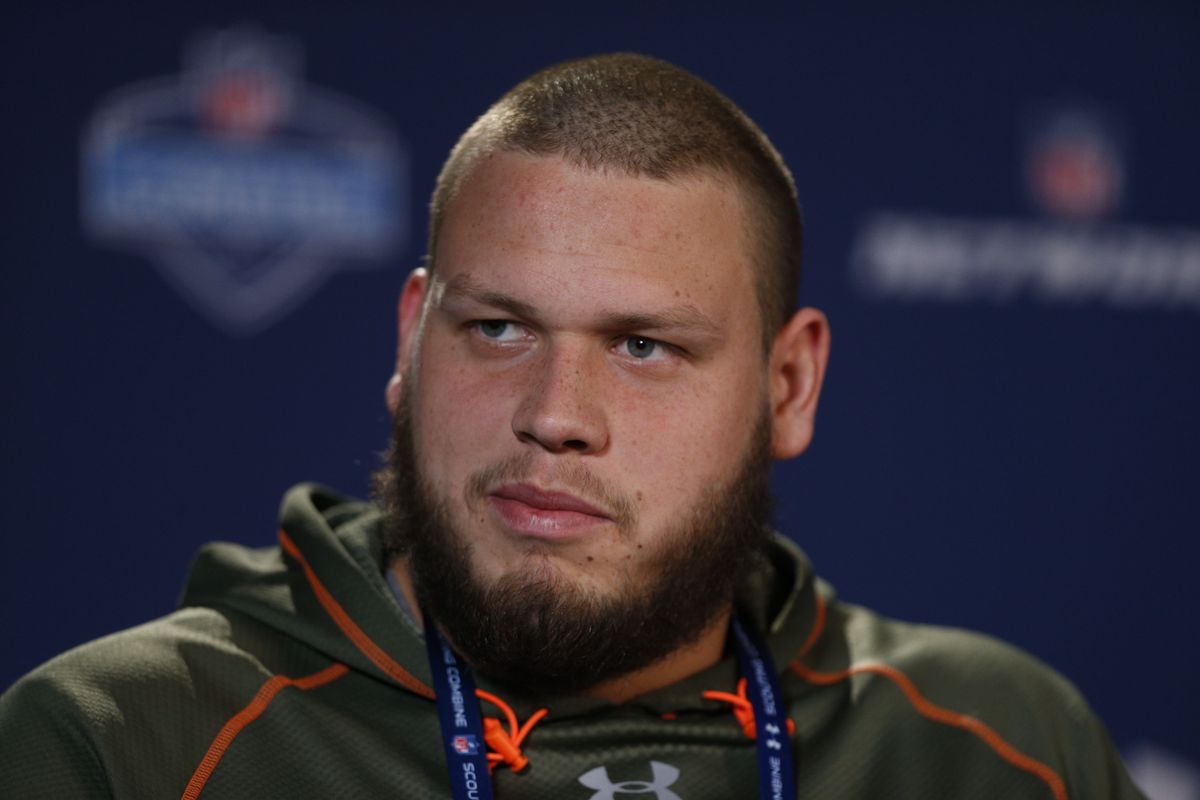 Nevada Wolfpack offensive lineman Joel Bitonio speaks during a press conference during the 2014 NFL Combine at Lucas Oil Stadium.