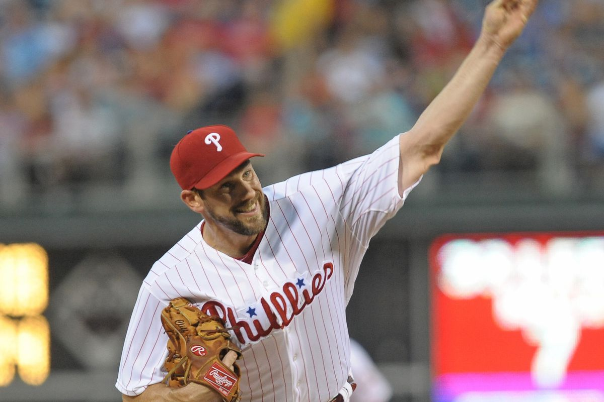 August 11, 2012; Philadelphia, PA USA; Philadelphia Phillies starting pitcher Cliff Lee (33) throws during the first inning of the game against the St. Louis Cardinals at Citizens Bank Park.  Mandatory Credit: Eric Hartline-US PRESSWIRE