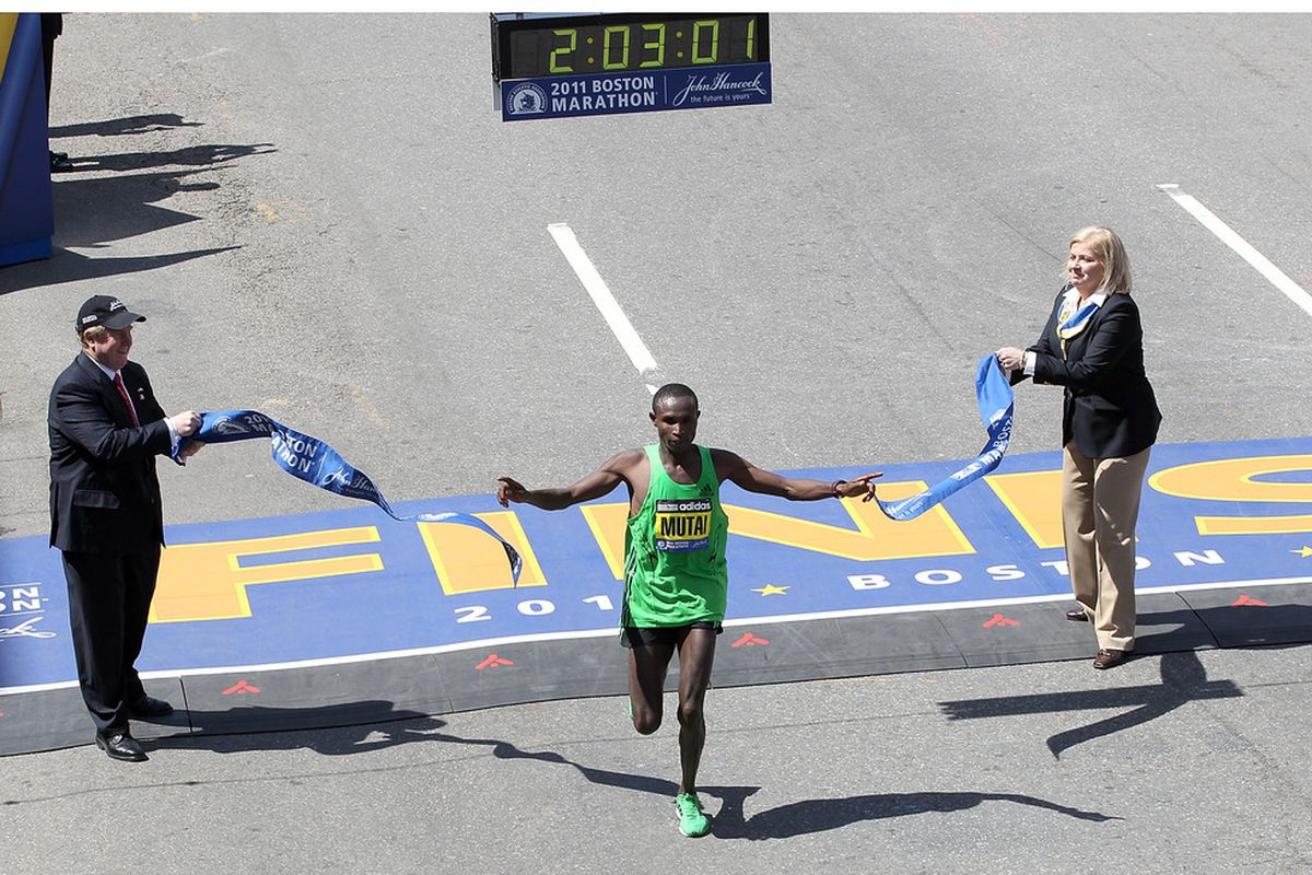 BOSTON, MA - APRIL 18: Geoffrey Mutai #2 of Kenya wins the men's division of the 115th running of the Boston Marathon on April 18, 2011 in Boston, Massachusetts. (Photo by Jim Rogash/Getty Images)
