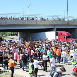 Protesters pour onto the Dan Ryan Expressway Saturday morning.   Ashlee Rezin/Sun-Times