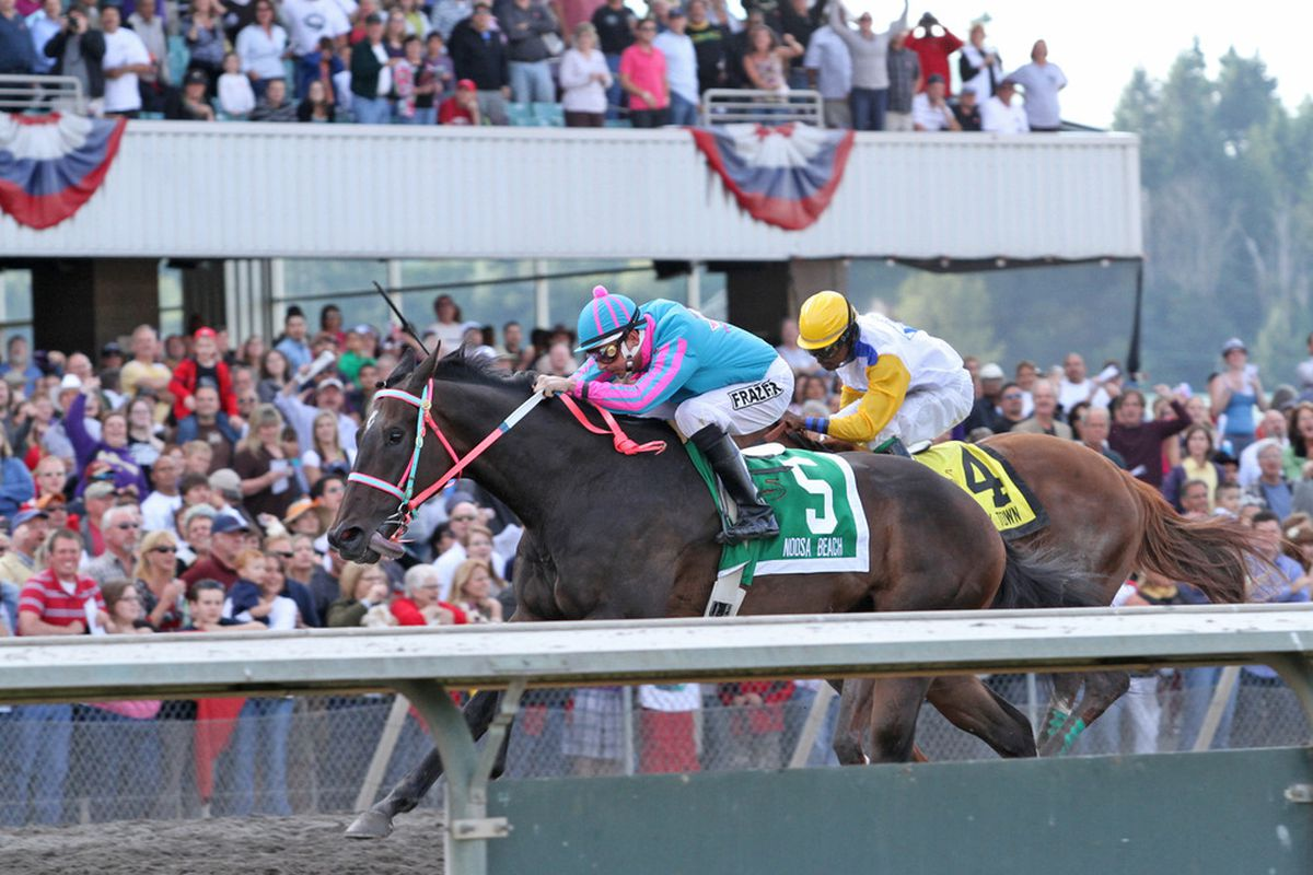 Photo courtesy of Reed Palmer, Emerald Downs: 2010 Horse of the Meeting Noosa Beach captures the 75th running of the $250,000 Longacres Mile (GIII) on Aug. 22, 2010