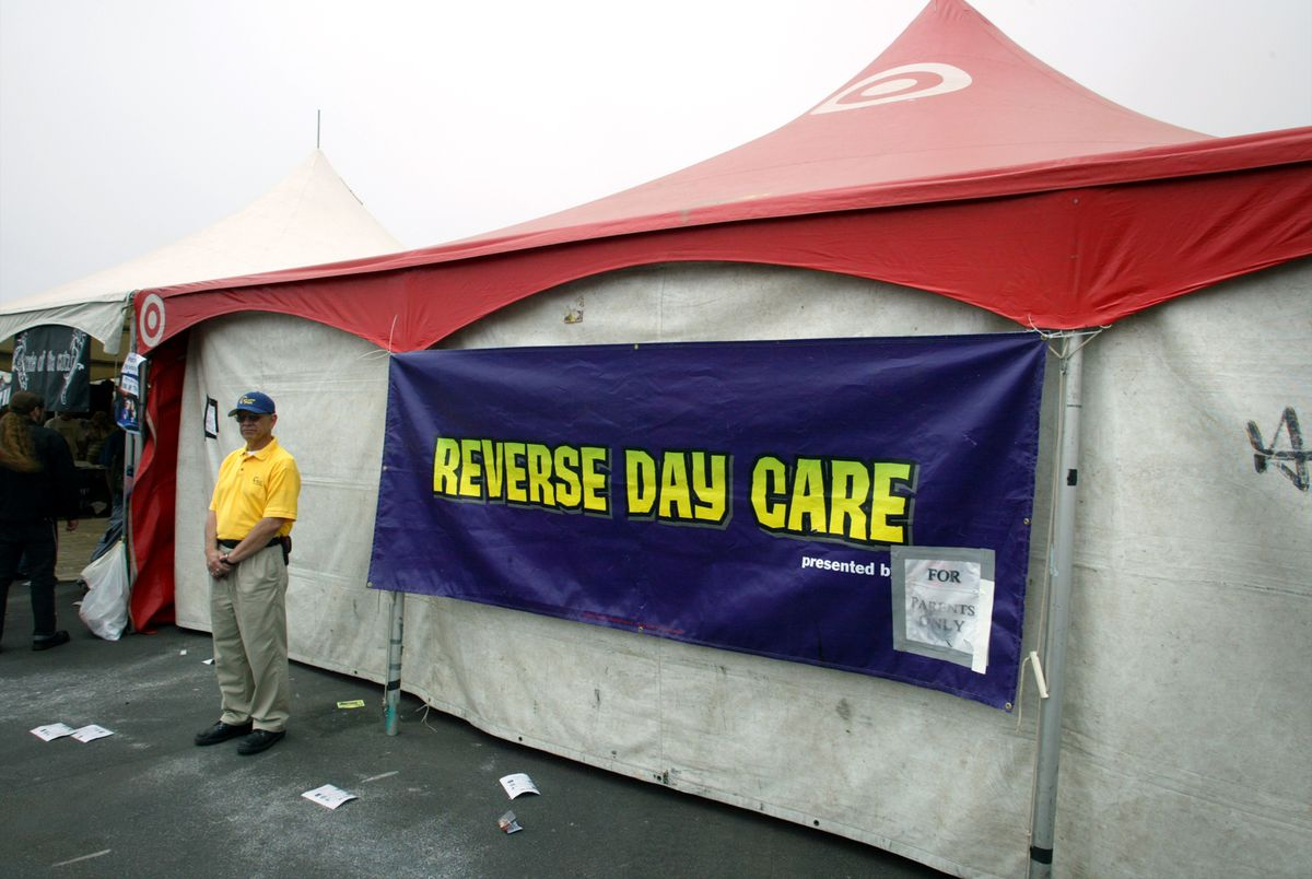 """Warped Tour's """"reverse daycare"""" for parents, as seen here in 2003, was sponsored by Target; its bullseye logo, though now its name, appeared on the tent."""