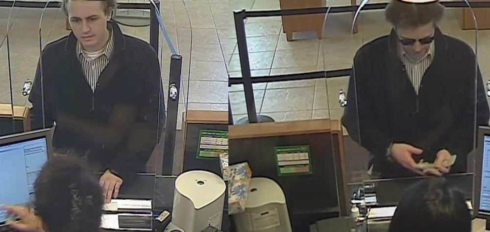 Surveillance images of the man suspected of robbing a Fifth Third Bank branch on June 30 in Buffalo Grove.   FBI