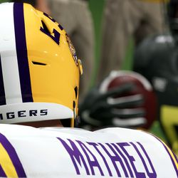 No college throwback mode would be complete without the Honey Badger, Tyrann Mathieu, in LSU's purple and gold.