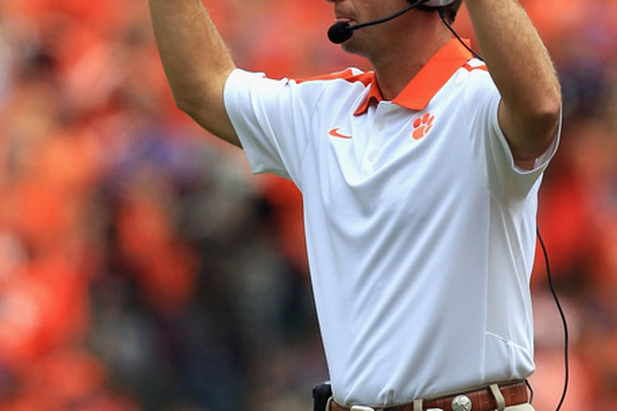 CLEMSON, SC - SEPTEMBER 17:  Head coach Dabo Swinney reacts to a touchdown against the Auburn Tigers during their game at Memorial Stadium on September 17, 2011 in Clemson, South Carolina.  (Photo by Streeter Lecka/Getty Images)