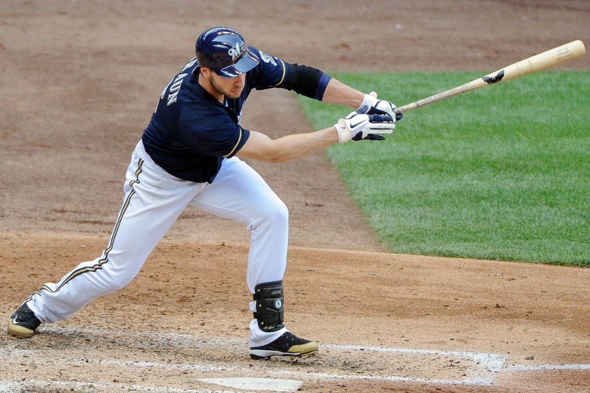 July 4, 2012; Milwaukee, WI, USA;  Milwaukee Brewers left fielder Ryan Braun (8) hits a double against the Miami Marlins in the fifth inning at Miller Park.  Mandatory Credit: Benny Sieu-US PRESSWIRE