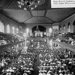 High School graduation in the Provo Tabernacle in 1909.